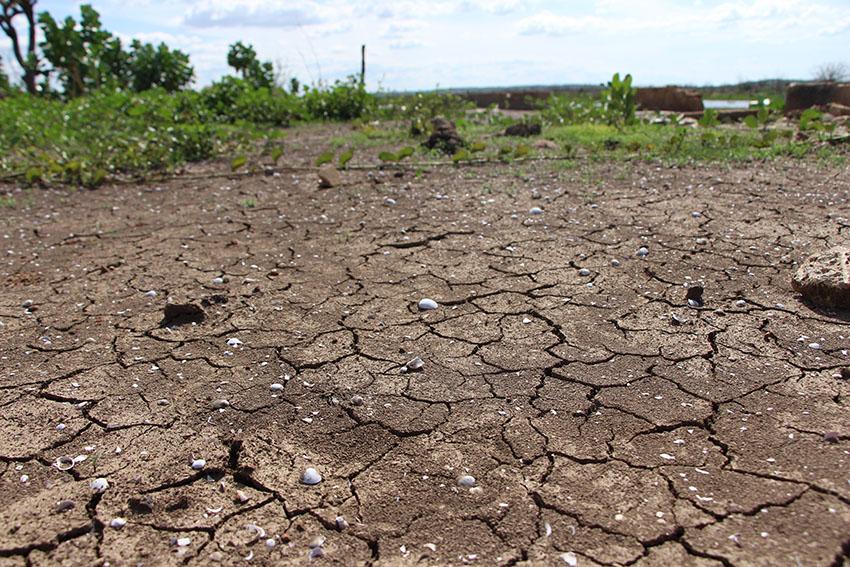 Açude Castanhão secou e revelou as ruínas da antiga Jaguaribara (Foto: Jéssica Welma/Tribuna do Ceará)