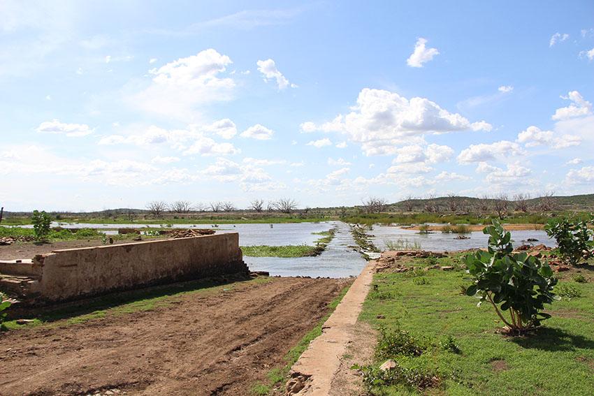 Rio Jaguaribe no Castanhão. (Foto: Jéssica Welma/Tribuna do Ceará)